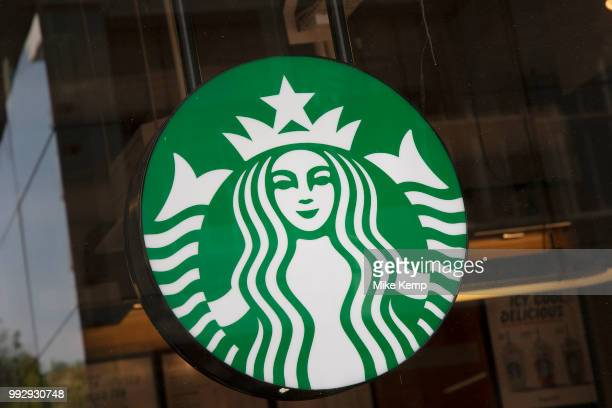Sign for the coffee shop and brand Starbucks in Birmingham United Kingdom