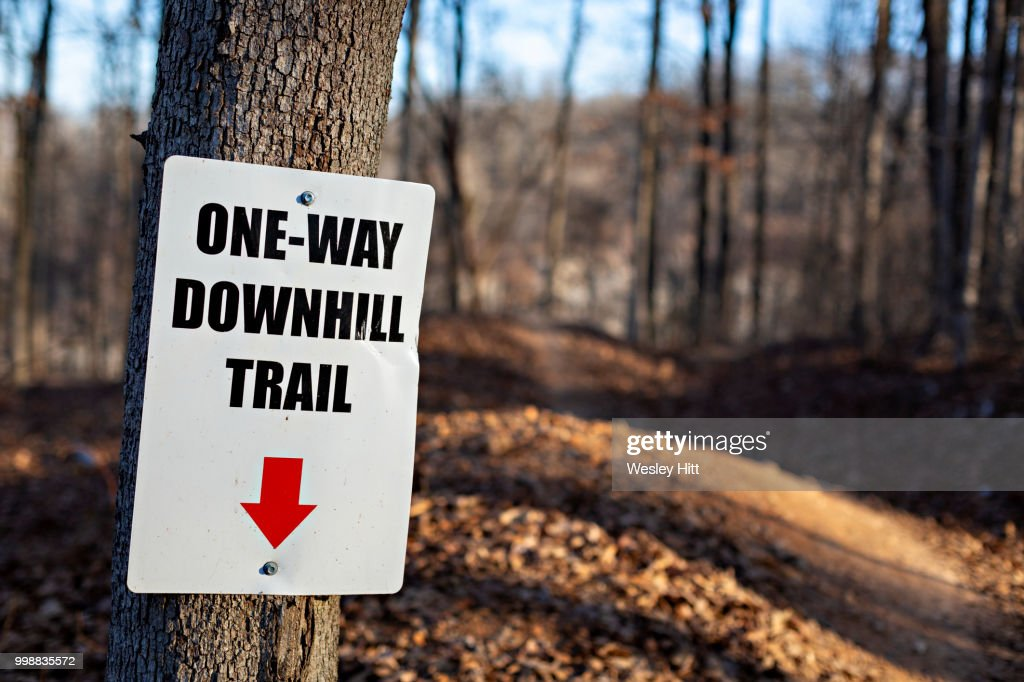 Sign for the downhill mountain biking trail in Northwest Arkansas : Stock Photo