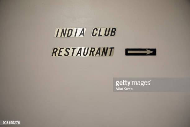 Sign for the famous India Club Restaurant in central London England United Kingdom The India Club at the Strand in London opened its doors in 1946 It...