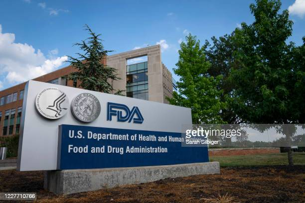 Sign for the Food And Drug Administration is seen outside of the headquarters on July 20, 2020 in White Oak, Maryland.