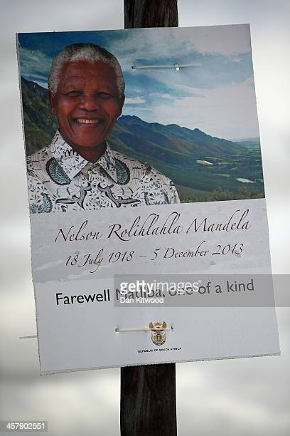 A sign for the funeral of Nelson Mandela hangs on a post on December 13 2013 in Qunu South Africa Mandela passed away on the evening of December 5...