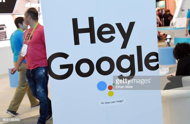 A sign for the Google Assistant is displayed during CES 2018 at the Sands Expo and Convention Center on January 9 2018 in Las Vegas Nevada CES the...