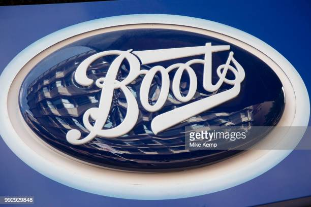 Sign for the health beauty and chemist brand Boots in Birmingham United Kingdom