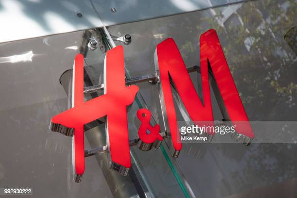 Sign for the high street clothing brand HM in Birmingham United Kingdom