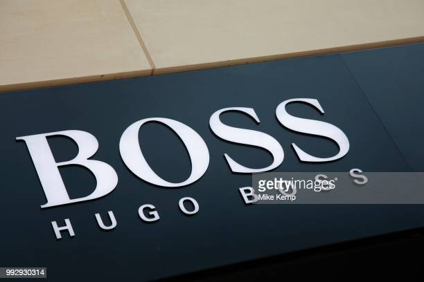 Sign for the high street clothing brand Hugo Boss in Birmingham United Kingdom