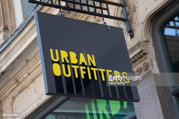 Sign for the high street clothing brand Urban Outfitters in Birmingham United Kingdom