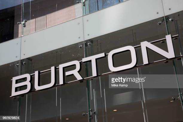 Sign for the high street menswear clothing brand Burton in Birmingham United Kingdom