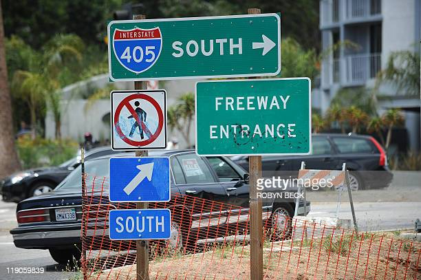 A sign for the Intersate 405 freeway onramp at the Sunset Blvd overpass in Los Angeles California July 14 2011 Starting tomorrow July 15 a 10 mile...