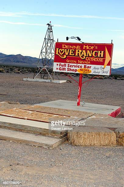 A sign for the Love Ranch Las Vegas brothel is shown on October 14 2015 in Crystal Nevada Former NBA player Lamar Odom was found unconscious during a...