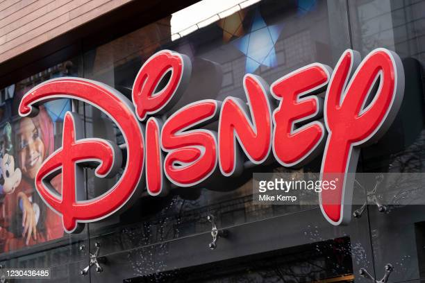Sign for the media brand Disney Store on 19th December 2020 in London, United Kingdom. The Walt Disney Company, commonly known as Walt Disney or...