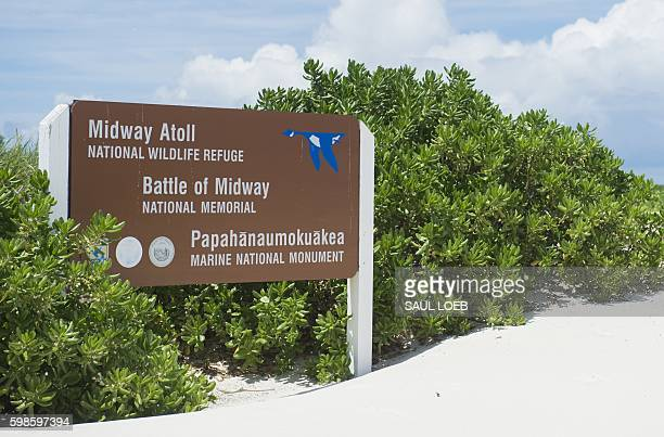 A sign for the Midway Atoll in the Papahanaumokuakea Marine National Monument in the Pacific Ocean September 1 as US President Barack Obama tours the...