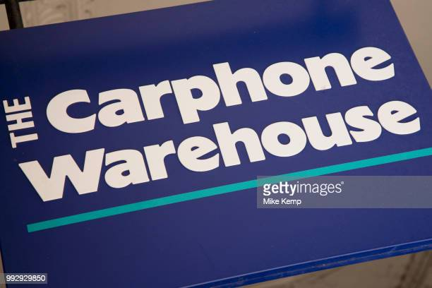 Sign for the mobile phone brand and shop Carphone Warehouse in Birmingham United Kingdom