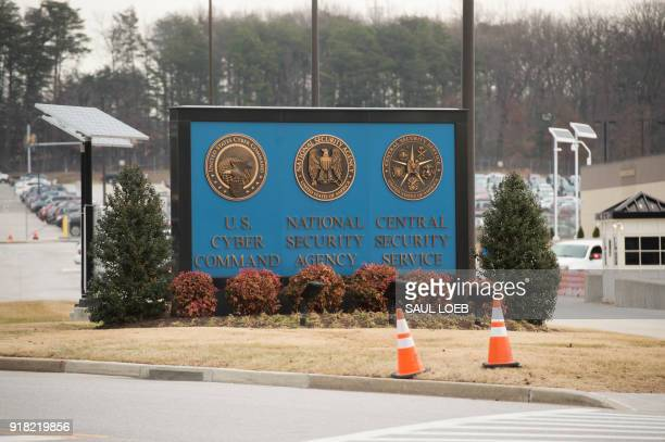 Sign for the National Security Agency , US Cyber Command and Central Security Service, is seen near the visitor's entrance to the headquarters of the...