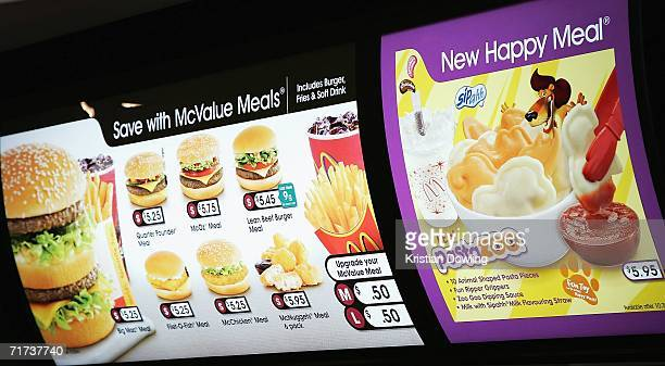 A sign for the new Happy Meal is displayed at the McDonald's restaurant in Collingwood on August 29 2006 in Melbourne Australia The new Happy Meal is...
