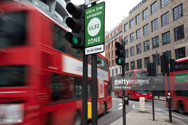 Sign for the new Ultra Low Emission Zone also known as ULEZ on April 8 2019 in London United Kingdom Transport for London are using this pollution...