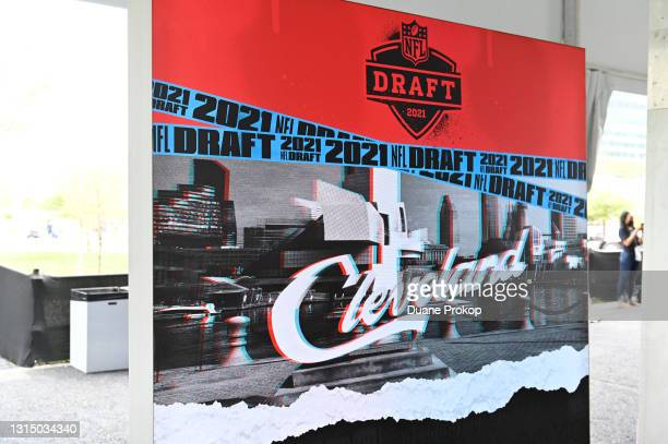 Sign for the NFL Draft 2021 is on display inside the NFL Locker Room at the NFL Draft Experience on April 28, 2021 in Cleveland, Ohio.