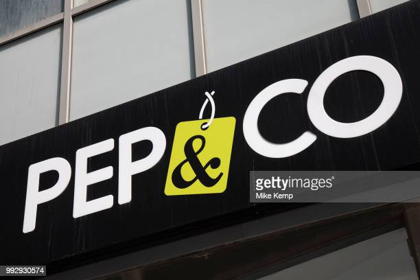 Sign for the pound shop and discount brand Poundland's clothing line Pep Co in Birmingham United Kingdom