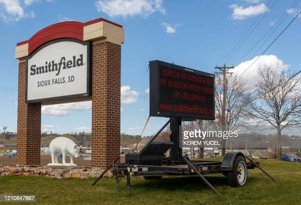 A sign for The Smithfield Foods pork processing plant in South Dakota one of the countrys largest known Coronavirus clusters is seen on April 20 2020...