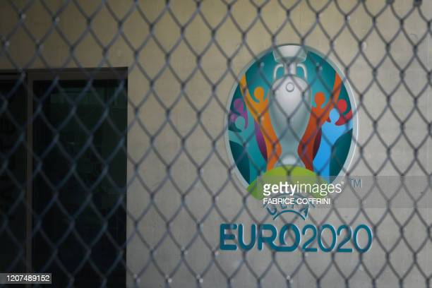 A sign for the Union of European Football Associations EURO 2020 is pictured at the headquarters of the European football's governing body UEFA in...
