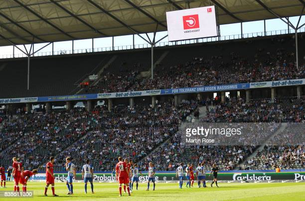Sign for the video referee on the screen during the Bundesliga match between Hertha BSC and VfB Stuttgart at Olympiastadion on August 19 2017 in...