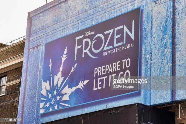 Sign for the west end show of Frozen is displayed at the Theatre Royal Drury Lane. Britains performing art sector is facing ruin without urgent...