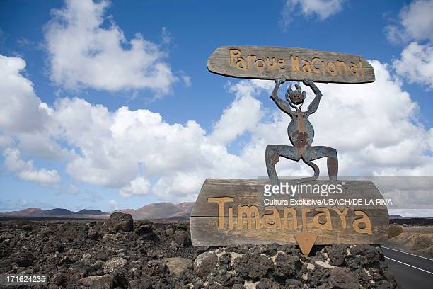 sign for timanfaya national park, lanzarote, canary islands, tenerife, spain - national park stock pictures, royalty-free photos & images