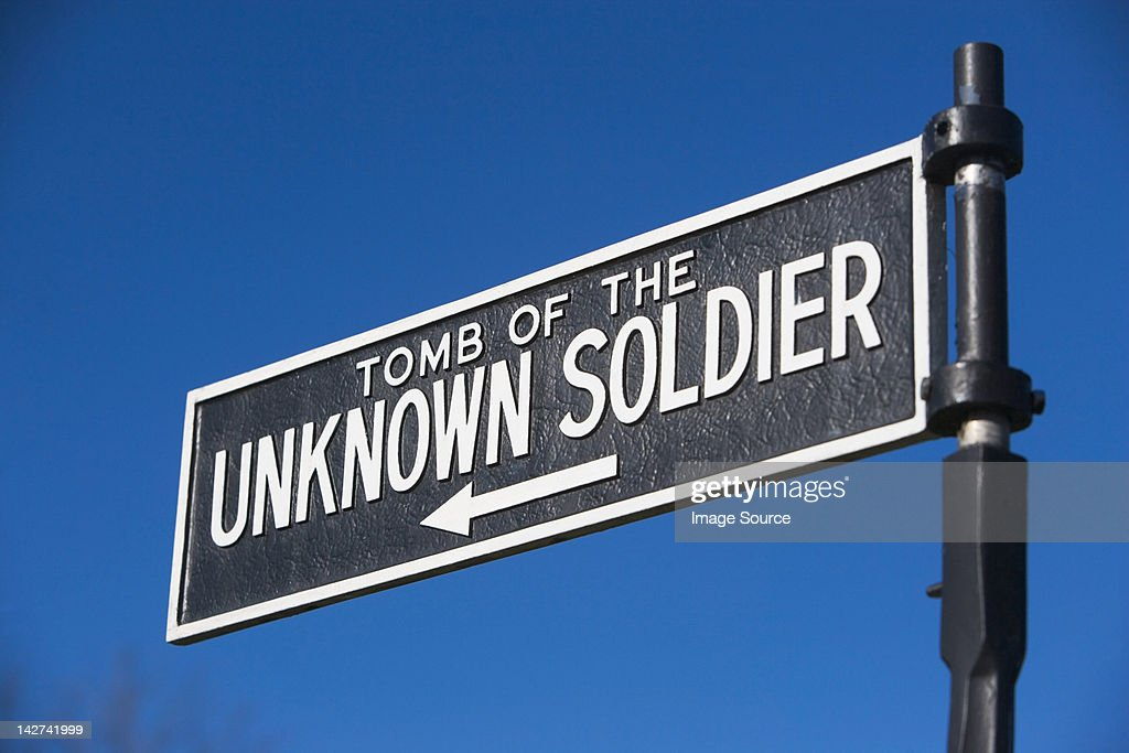 Sign for Tomb of the Unknown Soldier, Arlington National Cemetery, Virginia, USA : Stock Photo