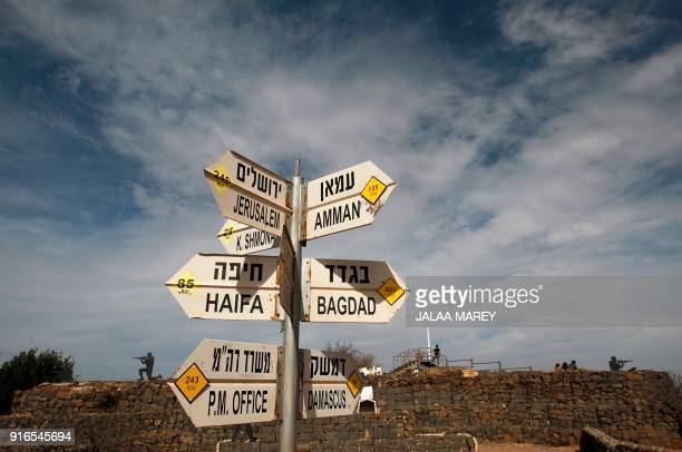 TOPSHOT A sign for tourists shows the direction to Damascus and Baghdad among other destinations at an army post on Mount Bental in the...