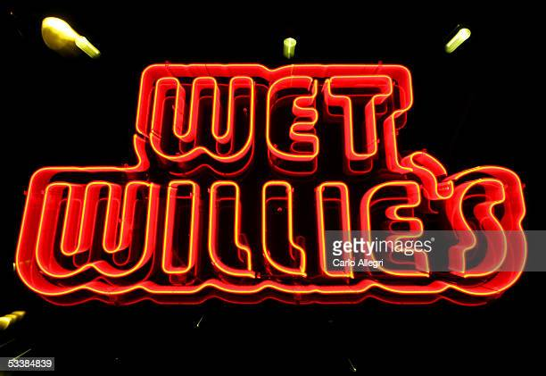 Sign for Wet Willie's bar is seen on Beale Street August 13, 2005 in Memphis, Tennessee. Beale St. Is the entertainment hub of Memphis.