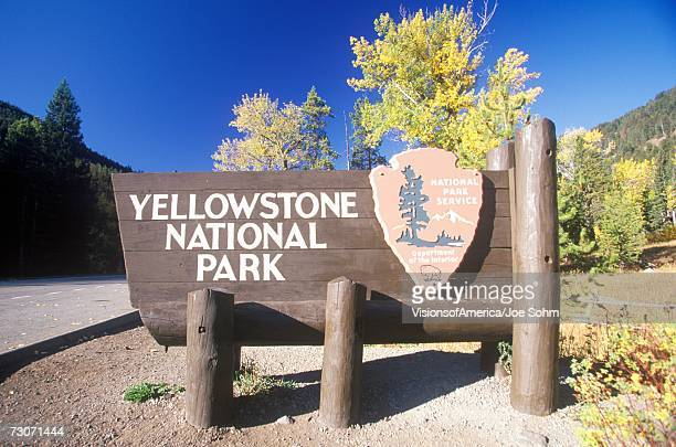 'Sign for Yellowstone National Park, Wyoming'