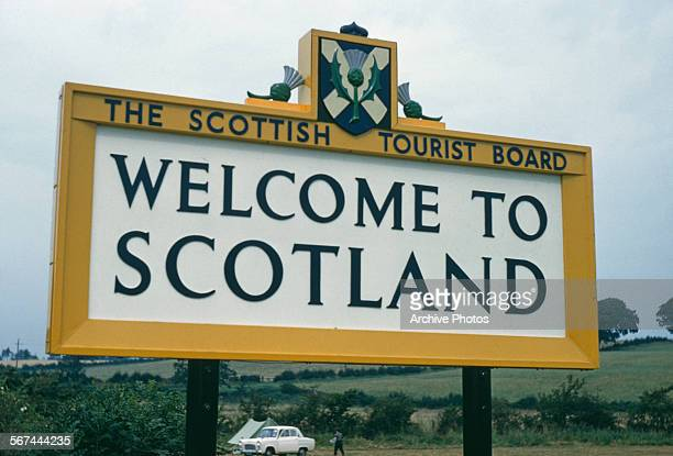 A sign from the Scottish Tourist Board reading 'Welcome to Scotland' Scotland September 1959