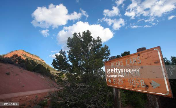 BLANDING UT MAY 11 A sign give the elevation of 'Bears Ears' in the Bears Ears National Monument on May 11 2017 outside Blanding Utah The newly...