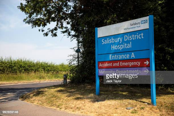 A sign gives directions for the Salisbury District Hospital after a major incident was declared when a man and woman were exposed to the Novichok...