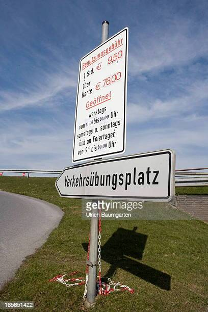 A sign gives directions to student drivers at the official driving training ground on March 27 2013 in Mettmann Germany The school is reportedly one...