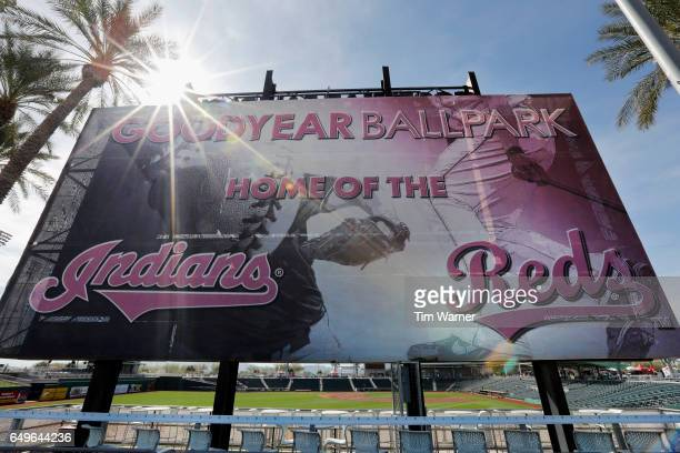 A sign greets fans to the ballpark at the centerfield entrance before the spring training game between the Cincinnati Reds and the Los Angeles Angels...