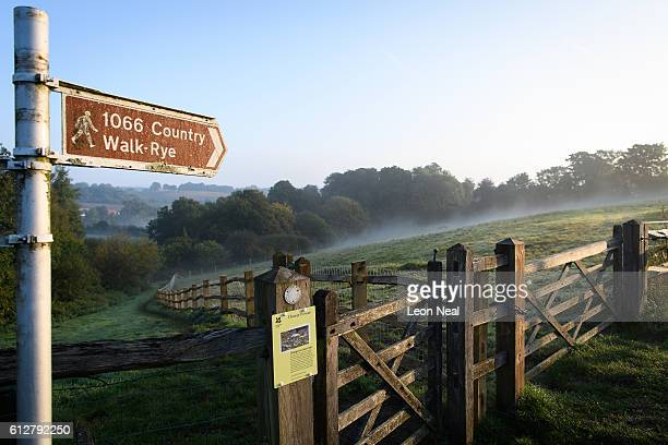 A sign guides ramblers on the route of the 1066 Country Walk near to Battle Abbey the widelyaccepted location of the Battle of Hastings on October 4...