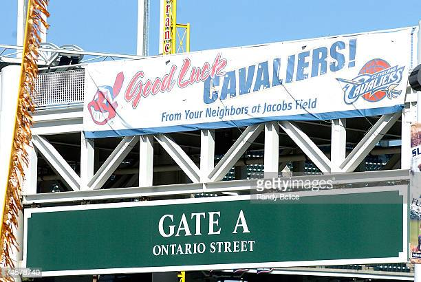 A sign hanging outside of Jacobs Field home of the Cleveland Indians reads 'Good Luck Cavaliers' prior to Game Three of the NBA Finals between the...