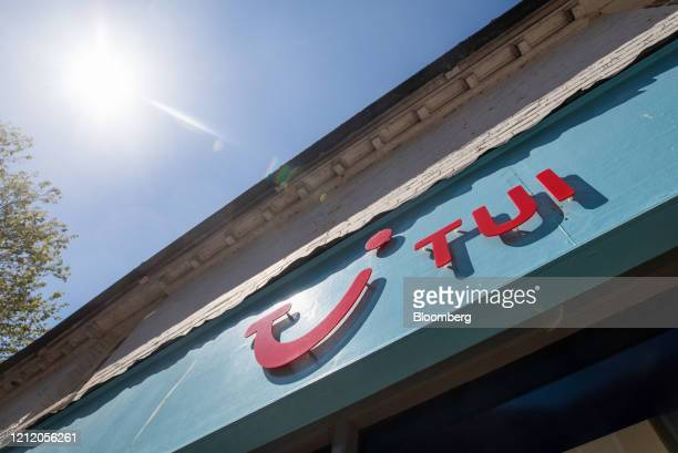 Sign hangs above a closed travel agency store, operated by TUI AG, in Ashford, U.K., on Wednesday, May 6, 2020. Lockdown restrictions have left...
