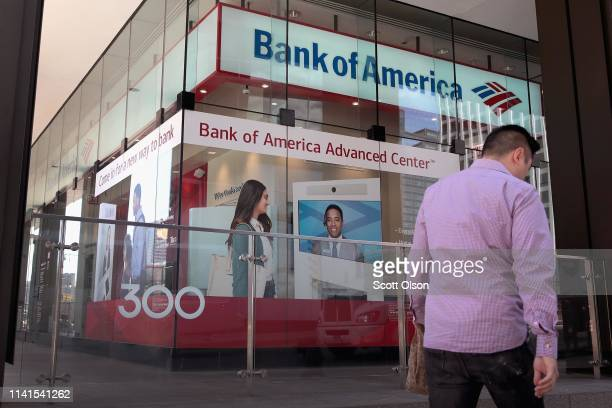 A sign hangs above the entrance to a Bank of America branch in the Loop on April 09 2019 in Chicago Illinois The banking giant has announced that it...