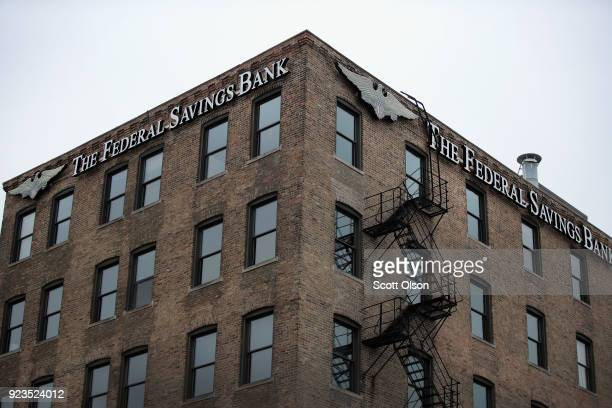 A sign hangs above the headquarters of The Federal Savings Bank in the Fulton Market neighborhood on February 23 2018 in Chicago Illinois Special...