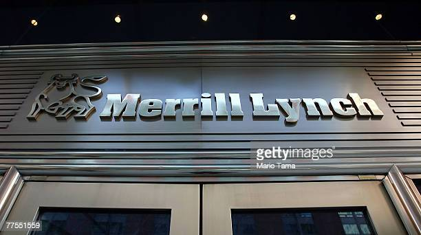 A sign hangs above the Merrill Lynch Co headquarters October 29 2007 in New York City Merrill Lynch CEO Stan O'Neal is reportedly close to resigning...