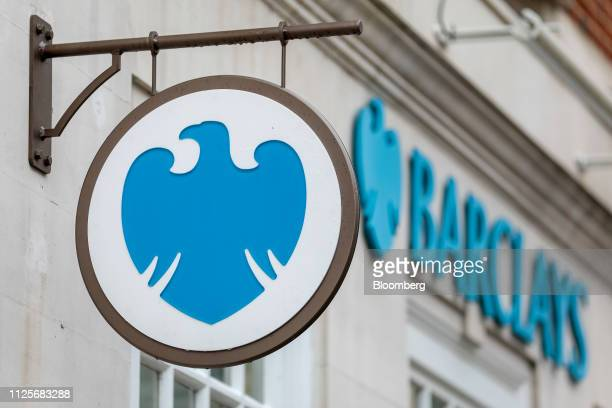 A sign hangs from a bank branch of Barclays Plc in London UK on Monday Feb 18 2019 Barclays along with HSBC Holdings Plc and Lloyds Banking Group Plc...