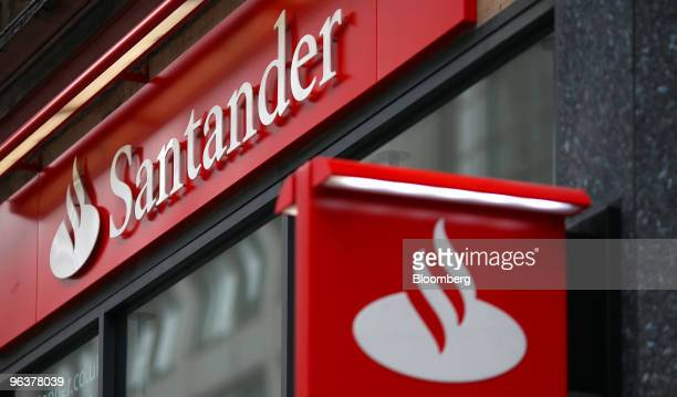 A sign hangs from a branch of Banco Santander in London UK on Wednesday Feb 3 2010 Banco Santander announce FY earnings tomorrow Photographer Simon...