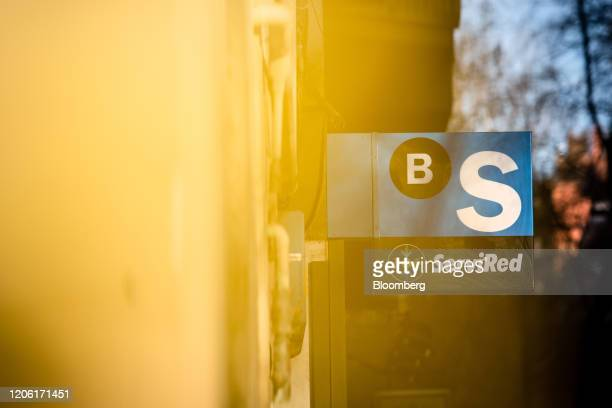 A sign hangs from the exterior of a Banco de Sabadell SA bank branch in Barcelona Spain on Saturday March 7 2020 Spanish bank shares soared after the...