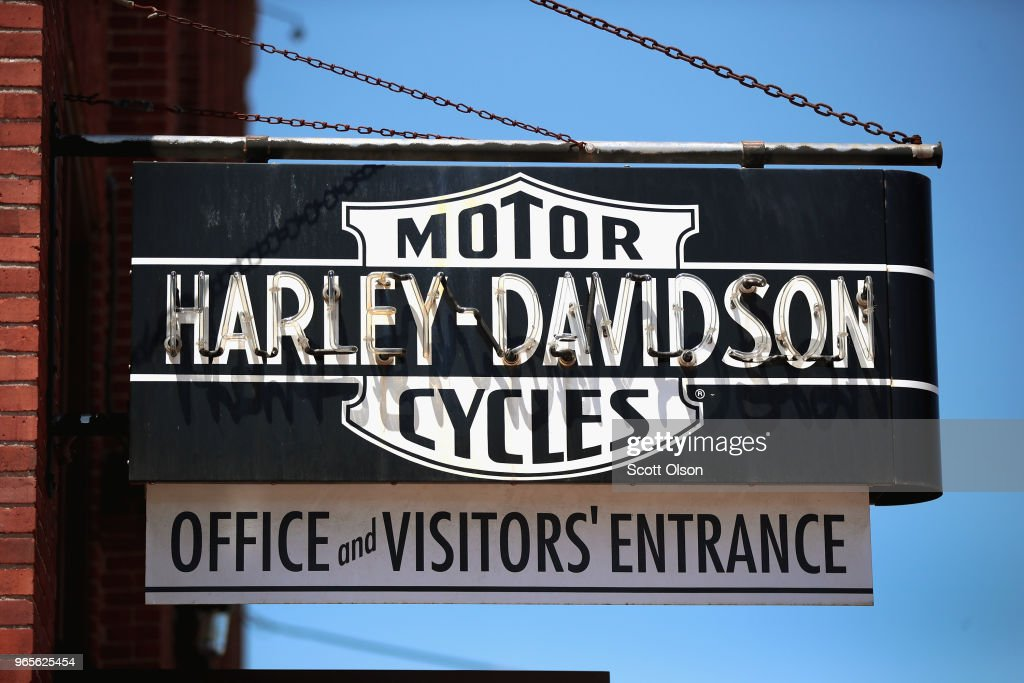 Harley Motorcycles A Target Of EU Retaliatory Tariffs : News Photo