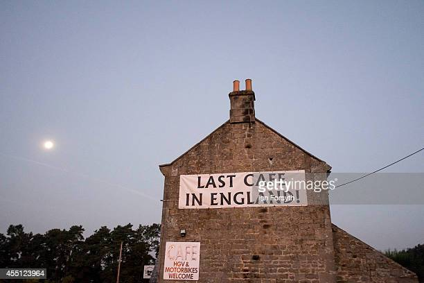 A sign hangs from the side of a cafe in England on the approach to the Scottish borders on September 10 2014 in Rochester England The Scottish...