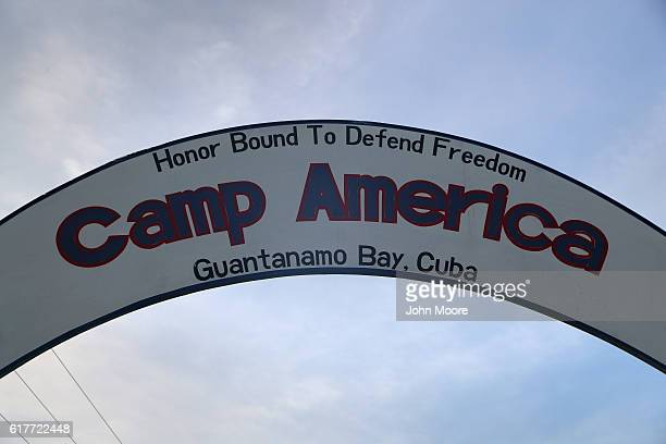A sign hangs in a US military guard camp at the US prison at Guantanamo Bay also known as Gitmo on October 22 2016 at the US Naval Station at...