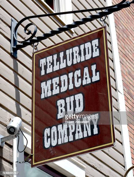 A sign hangs in front of the Telluride Medical Bud Company one of several medical and recreational marijuana retail stores in Telluride Colorado