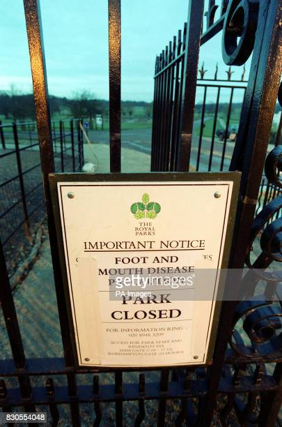 A sign hangs on a gate to Richmond Park in southwest London which is one of three Royal Parks which have been closed from midnight to visitors to...