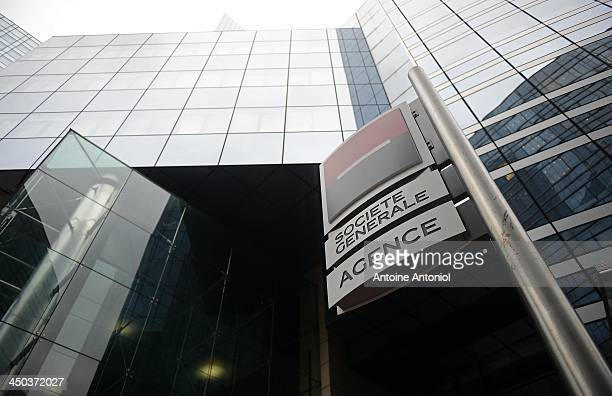 A sign hangs outside he Societe Generale headquarters in the La Defense business district on November 18 2013 in Paris France Paris police are...